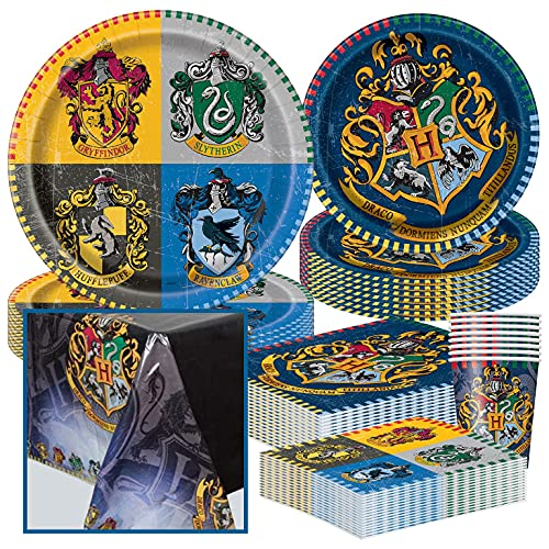 Unique Party Bundle Featuring Harry Potter   Luncheon & Beverage Napkins, Dinner & Dessert Plates, Table Cover, Cups   Great for Fantasy/Wizard/Magic Birthday Themed Parties