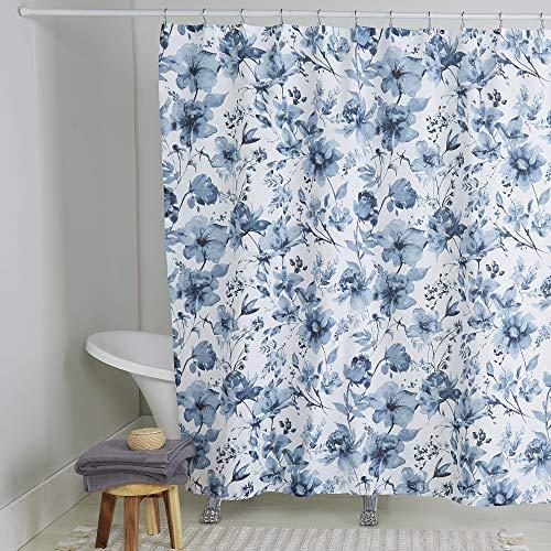 Home Dynamix Nicole Miller Wild Flower 100prozent Cotton Duschvorhang, weiß/blau, 72