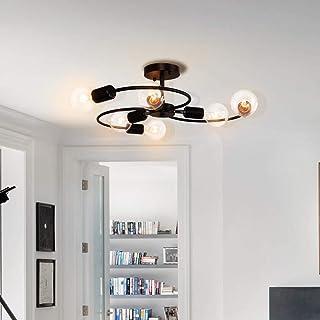 OYIPRO Moderno Lámparas de araña Negro Iluminación de techo 6 E27 para dormitorio sala de estar (Sin bombilla)