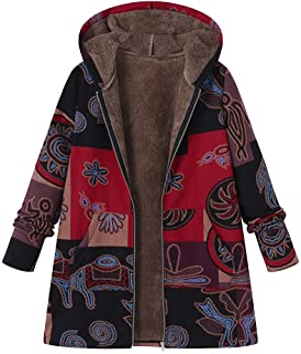 5e1a5c383b9eb Limsea Women Coats Coat Zipper Plus Size Hooded Long Sleeve Vintage Fleece  Thick