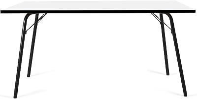 Tenzo 3612-906 Dine Designer Table à Manger, Plateau en Panneaux de Particules ép. 25 mm, mélaminé Blanc miniperle CPL, Chants Noirs, 75,5 x 140 x 80 cm (HxLxP)