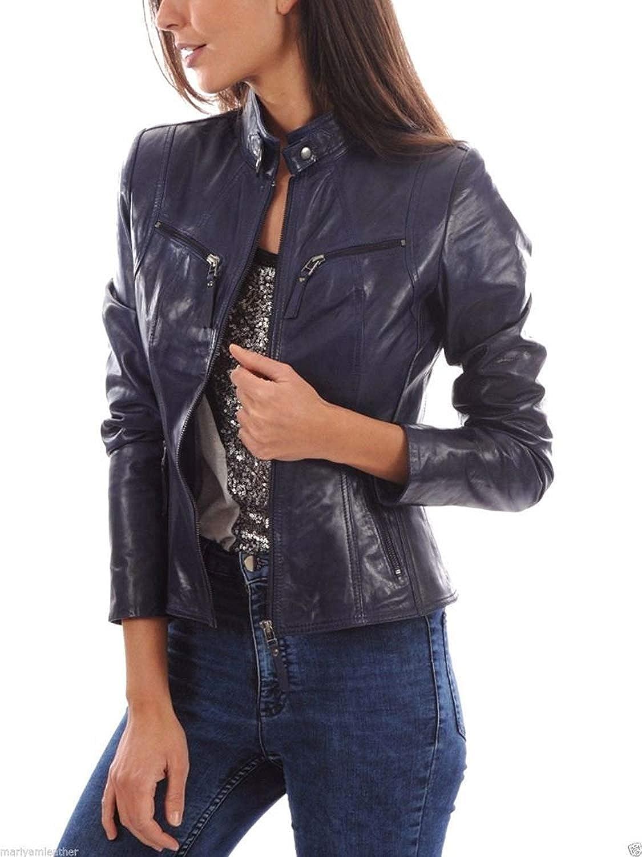 Azrah Traders Women's Lambskin Leather Biker - Jacket お気にいる Moto Winte ☆新作入荷☆新品