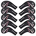10pcs/Set Shark Golf Club Iron Head Covers Headcover with No. on Both Sides Suitable for Right and Left Handed Golfer Zipper Closure (Iron Headcover)