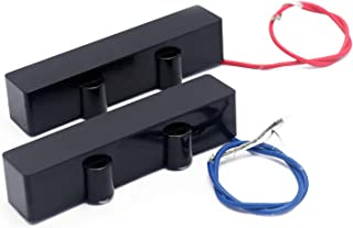 Metallor Ceramic Magnet Sealed Type Pickup Set for 4 String Jazz Bass J-Bass Parts Replacement Neck Bridge Hand Wound Black.