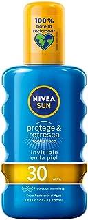 NIVEA SUN Protege & Refresca Spray Solar FP30 (1 x 200 ml) spray con protección UVAUVB protección solar alta invisible...