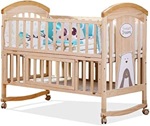 Crib Infant Cot Bed  Baby Wood Sofa Crib  Baby Furniture  Pine  Versatile Use  Removable Changing Fence  Size