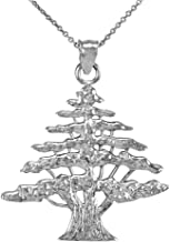 Middle Eastern Jewelry Textured 925 Sterling Silver Lebanese Cedar Tree Pendant Necklace