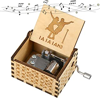 Imncya Wooden Music Boxes Theme La La Land, Hand Crank Antique Retro Carved Wood Musical Box, 18 Note Mechanism Home Decoration Vintage Classic Gifts for Christmas/Birthday/Wedding(Brown)