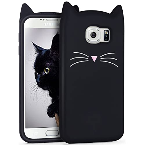 Galaxy S7 Silicone Case, Imikoko Anti-Scratch Shockproof Soft Silicone Case With Cute Black Cat Pattern for Samsung Galaxy S7 (5.1 inch) (Galaxy S7, Black)