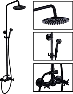 Oil Rubbed Bronze Rain Shower System Set 2 Knobs Mixing 8 Inch Rainfall Shower Head with..