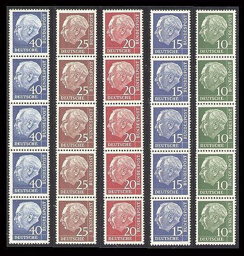 Goldhahn BRD 5er-Rollenstreifen postfrisch  10,15,20,25,40 PFG. Heuss lumo Briefmarken für Sammler