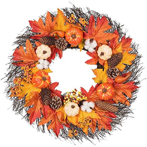 Gfhrisyty 22-Zoll-Ahornblatt-Herbstkranz mit KüRbis, Tannenzapfen, Baumwollkapseln, Beeren & Erntekranz für Herbst- & DankeschhN-Dekor