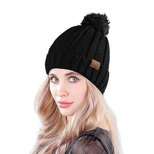 MUCO Womens Beanie Winter Hat Knit Chunky Faux Fur Warm Linling Pom Poms Hat  Bobble Hat 5b555041530