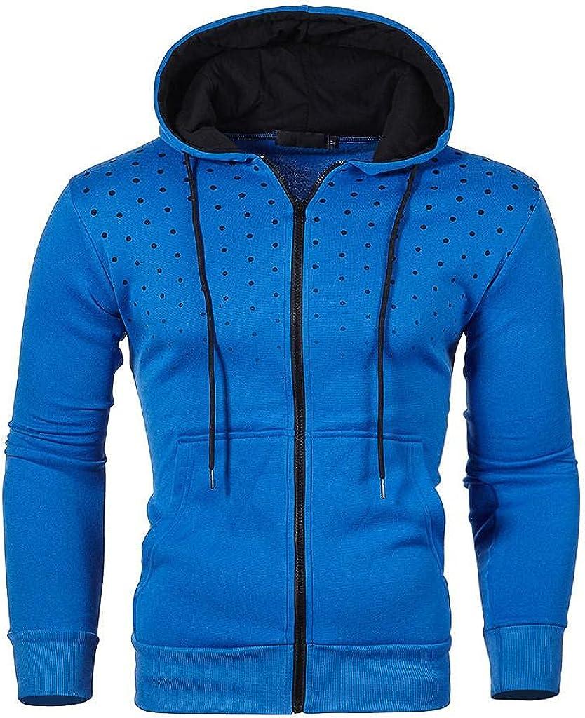 Sweatshirts for Men Zip Up Pullover Long Sleeve Polka Dots Athletic Sweatshirt Zipper Hoodies Gym Workout Hooded Tops