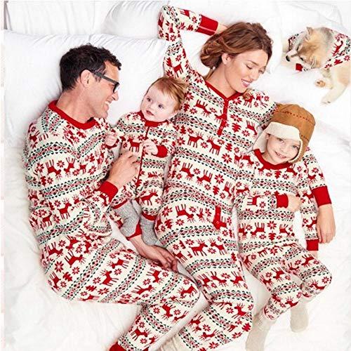 Familia De Navidad para Padres E Hijos Conjunto De Pijamas con Estampado De Dibujos Animados Mamá Papá Niño Ropa De Dormir para Bebés Ropa Informal para El Hogar-Hombres M