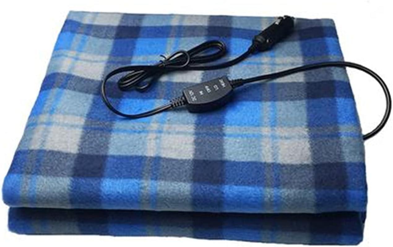 Dreafly Manta de calefacción eléctrica de Coche de 12 V, edredón de Felpa Universal, Manta de Tela Escocesa de Moda portátil, Manta de calefacción de Coche para Viajes en casa, Camping