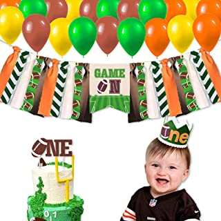 Football First Birthday Party Supplies Decorations, Sport Game Day Party High Chair Banner, Tailgate NFL One Cake Topper, Touchdown One Crown, Super Bowl Sunday Baby Boy 1st Photo Booth Props