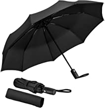 Ganamoda Compact Travel Umbrella-Windproof&Water Repellent with 10 Reinforced Fiberglass Ribs 210T Fabric,Automatic Open&Close Button
