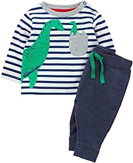 Chumhey Baby & Toddler Striped 3D Green Dinosaur Embroidered Sweater 2Pcs Pants Set