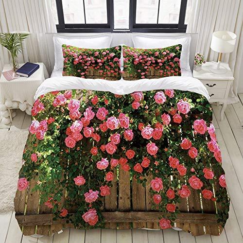 Dodunstyle Funda nórdica, Flor de Rosa de los Jardines Enredaderas de Rosa en la Cerca de Madera, Juego de Cama Ultra cómodo y liviano Juegos de Microfibra