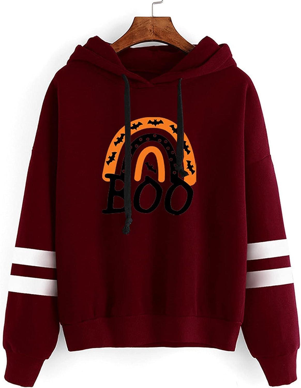 Halloween Sweatshirt for Women - Halloween Long Sleeve Pullover Winter Sweater Shirt Pumpkin Skull Print Tops Blouse