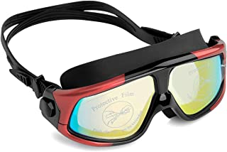 NIAFEYA Professional Swim Goggles No Leaking Adjustable Fit Anti-Fog Waterproof UV Protection Wide View Swimming Goggles for Adult Women Men - Red/Black