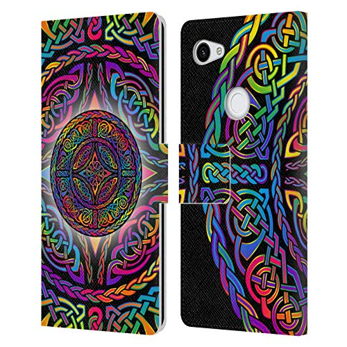 Head Case Designs Officially Licensed Beth Wilson Shield Rainbow Celtic Knots Leather Book Wallet Case Cover Compatible with Google Pixel 3a XL