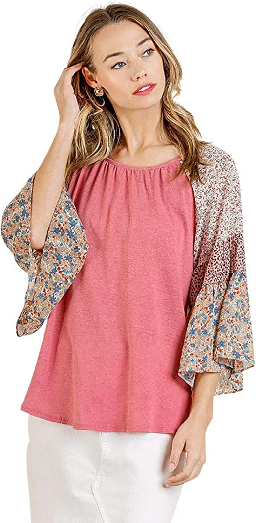 Umgee Women's Mixed Print Bell Sleeve Round Neck Top