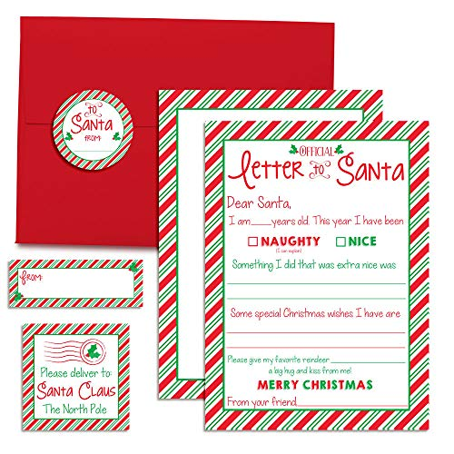 """Official Letter to Santa Kit, 4 5""""x7"""" Fill in Cards with 4 Red Envelopes Along with 12 Coordinating Stickers. 4 Each of Return Address Labels, Envelope Seals & Address Label by AmandaCreation"""