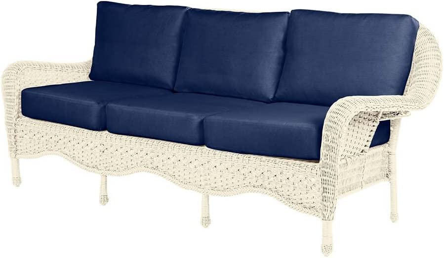 Prospect Hill Outdoor Patio Deep Seating Sofa Furniture - Includes Cushions - All Weather Woven Resin with Aluminum Frame - 84 W x 35 D x 36.5 H - Cloud White with Midnight Navy Cushions