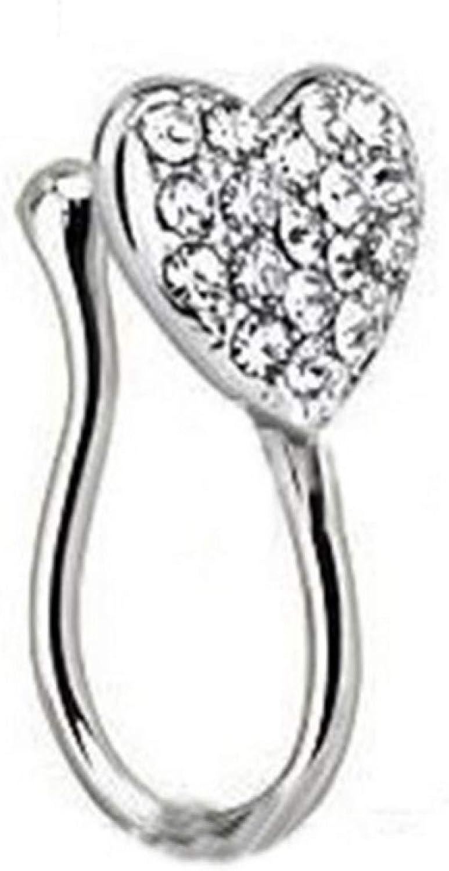 erDouckan Fashion Charming Body Piercing Jewelry for Women Men Valentine's Day Boy Girl Friend Women Fashion Glitter Rhinestone Heart Fake Non Piercing Clip-on Nose Ring Stud