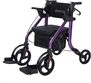 Elenker 2 in 1 Rollator Walker & Transport Chair,Folding Wheelchair Rolling Mobility Walking Aid with Handbrakes,Padded Seat,Detachable Footrests for Adult,Seniors (Purple)