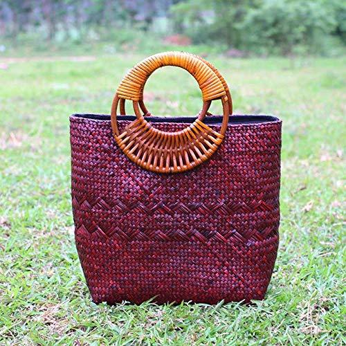 Bolso de mano de estilo bohemio bolso de paja de playa para mujer diseño retro casual ratán tejido-rojo