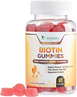 Sponsored Ad - Biotin Gummies 10,000mcg Extra Strength Formula for Hair, Skin, and Nails - Premium Vegan Pectin-Based Hair...