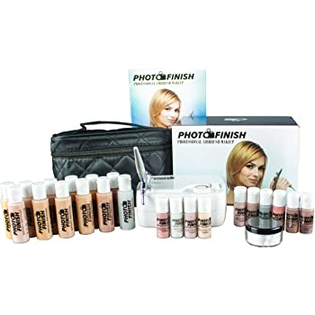 Photo Finish Professional Airbrush Cosmetic Makeup Deluxe System Kit Master Set/Fair to Tan Shades (Luminous Deluxe Kit)