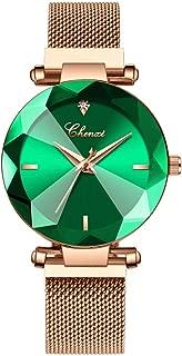 Women Ladies Girls Diamond Face Magnetic Strap Rose Gold Mesh Band Bracelet Wrist Watch