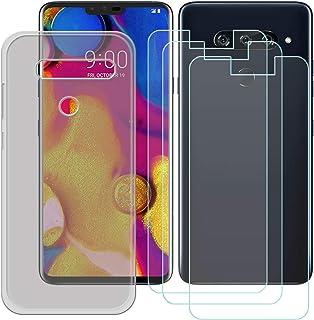 YZKJ Fodral för LG V40 ThinQ Cover grå silikon skyddsfodral TPU skal fodral 3 stycken pansarglas skärmskydd för LG V40 Thi...
