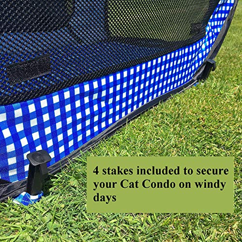 Pet Fit For Life Extra Large (32x19x19) Collapsible/Portable Cat Cage/Condo with Portable Litter Box and Bonus Cat Feather Toy and Collapsible Water/Food Bowl Large - 32 x 19 x 19
