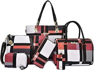 Fanspack 6PCS Tote Bag Set Shoulder Pouch Purse Stripe Large Capacity Handle Bag Handbag