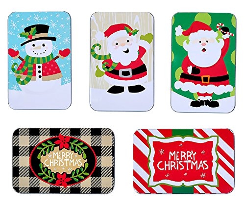 Christmas Gift Card Tins for Stocking Stuffers, Holiday Gift Box Set (5 Pack)