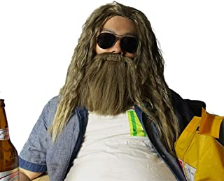 Avenger Endgame Thor 's Long Curly Blonde Hair Wigs with Beard for Halloween Cosplay