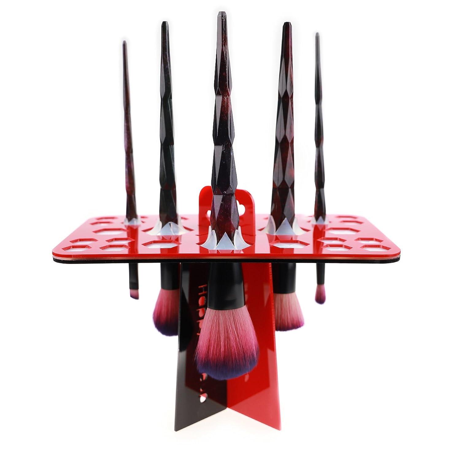 頻繁に威するログメイクブラシスタンド 赤 化粧ブラシスタンド アクリル製 折畳み可 26本収納 レッド