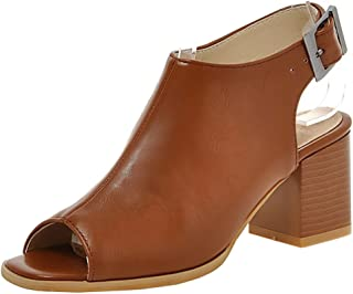 Judy Bacon Women's Fashion Peep Toe Mid Chunky Heels Mule Booties