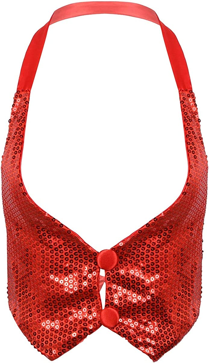 YiZYiF Women's Sequin Special price for a limited time Halter Neck Back Vest Tie New popularity Dance Waistcoat