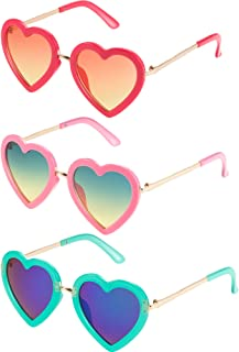 Blulu 3 Pairs Kids Heart Shaped Sunglasses for Toddler Girls
