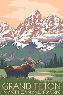 Grand Teton National Park, Wyoming - Moose and Mountains (12x18 Art Print, Wall Decor Travel Poster)