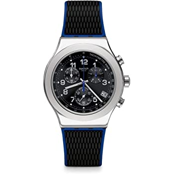 Swatch Mens Chronograph Quartz Watch with Rubber Strap YVS451