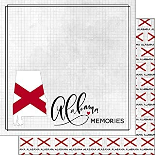 Alabama Adventure Flag 38474 12 inch x 12 inch Double-Sided Scrapbook Paper - 1 Sheet