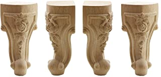 WEICHUAN Solid Unfinished Carved Wood Furniture Legs Replacement Sofa Couch Chair Ottoman Loveseat Coffee Table Cabinet Furniture Wood Legs Wood Feet(6