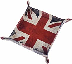 Funnytoday365 Union Jack Uk United Kindom National Flag Pu Leather Mens Catchall Change Key Wallet Coin Box Storage Tray Valet